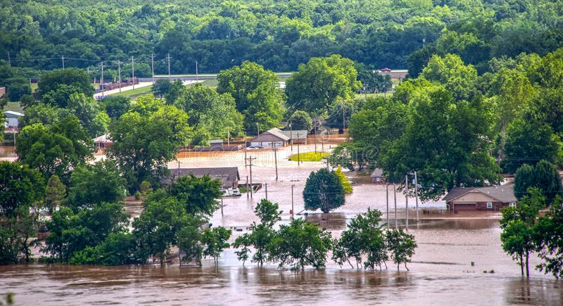 View from 412 Highway to the West of Tulsa Oklahoma as Arkansas river rises and innodates residential stock image