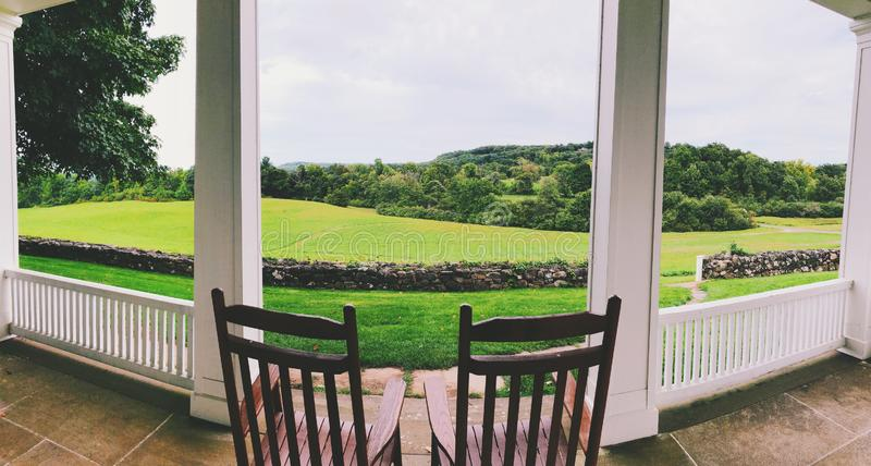 The view from The Hill–Stead Museum. The large lawn and trees inside The Hill–Stead Museum that is a Colonial Revival house and art museum set on a stock photography