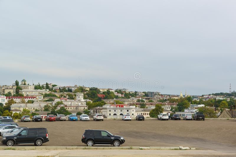 The view from the hill of the Cape Crystal in the seaside town. Russia, Crimea, Sevastopol - September 06.2017: the view from the hill of the Cape Crystal in the royalty free stock images