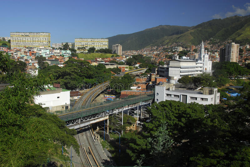 View from the hill facing Miraflores Palace stock image