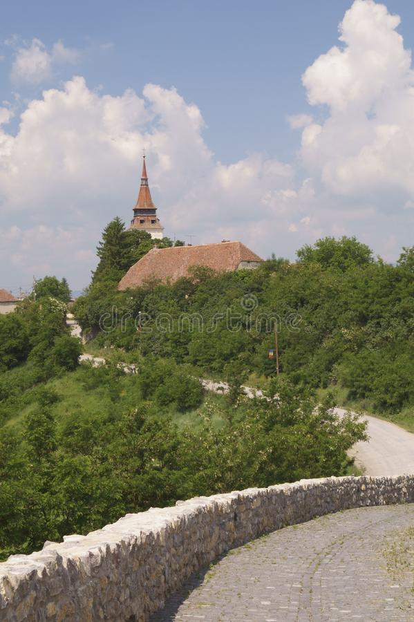 View from the hill of the fortress - Feldioara, Brasov, Romania royalty free stock photography