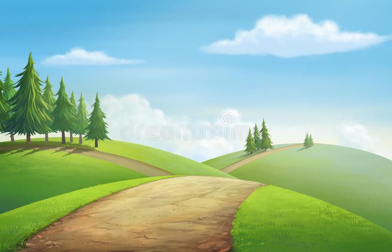 View for hill vector illustration