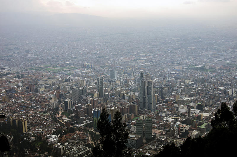 View from Hill of Monserrate, Bogot, Colombia. Central Business District, view from Cerro Monserrate, Bogotá, Colombia stock images