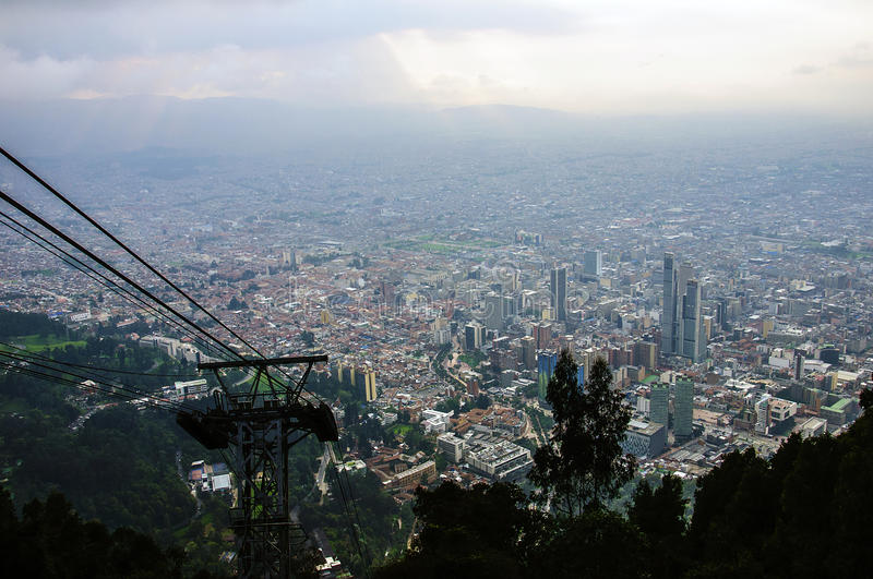 View from Hill of Monserrate, Bogot, Colombia. Central Business District, view from Cerro Monserrate, Bogotá, Colombia stock photo