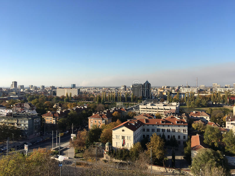 View from the hill Nebet Tepe. Over the city Plovdiv Bulgaria stock image