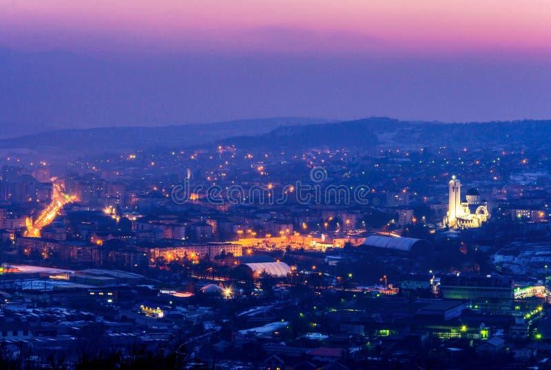 Panorama of Zalau city, Salaj county, Transylvania, Romania. View from the hills around the Zalau city. Transylvania is magic stock image
