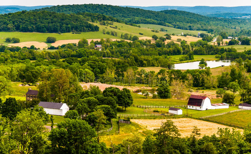 View of hills and farmland in Virginia's Piedmont, seen from Sky Meadows State Park.  royalty free stock images