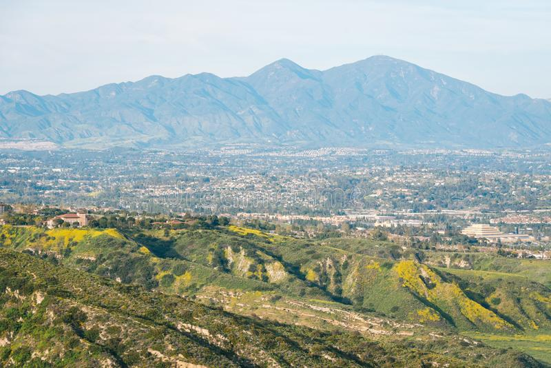 View of hills and mountains from Moulton Meadows Park, in Laguna Beach, Orange County, California.  stock image