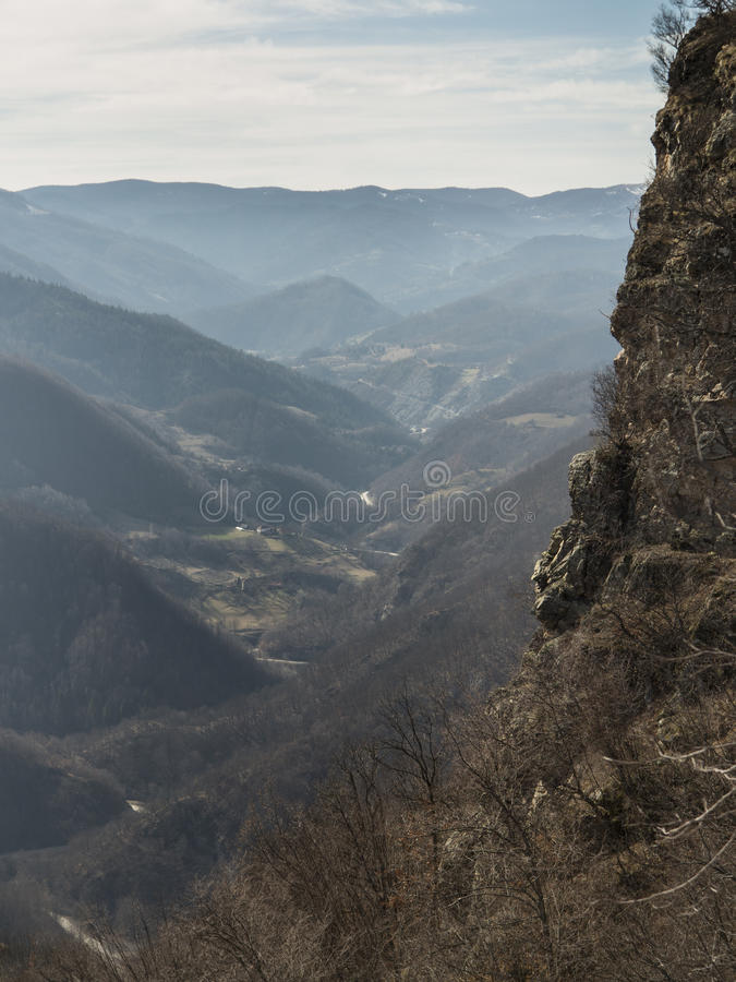 View of hills near Kraljevo Serbia 2. View of hills near Kraljevo Serbia from mountain cliff stock images