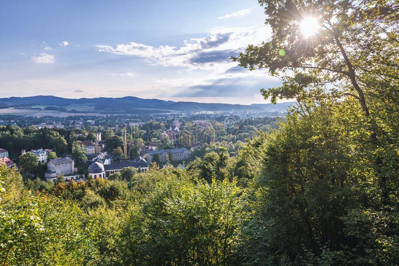 Kudowa-Zdroj in Poland. View from hills of park above Kudowa Zdroj town in Poland stock photography