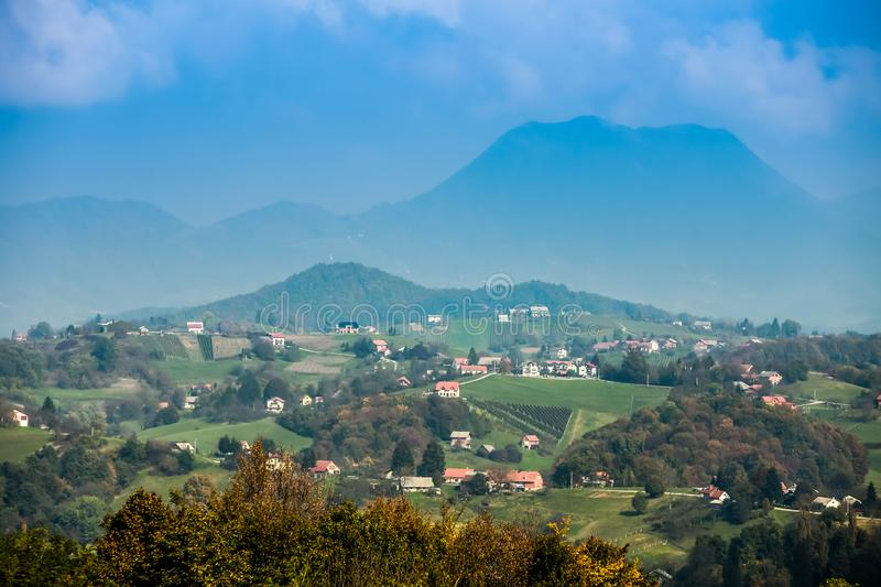 View of hills in Zagorje. A view of the hills and villages in Zagorje, Croatia royalty free stock photos