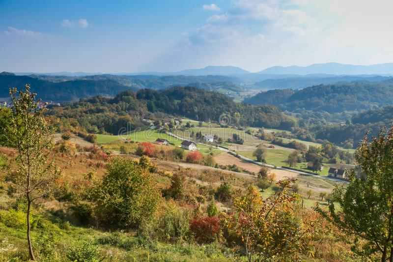 View of hills in Zagorje royalty free stock image