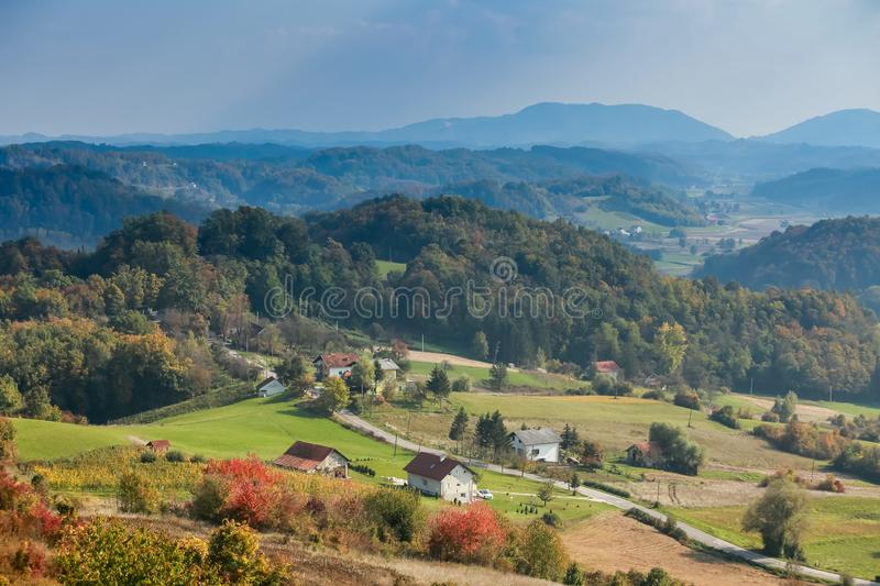 View of hills in Zagorje. A view of a road passing through the village in Zagorje, Croatia stock photos