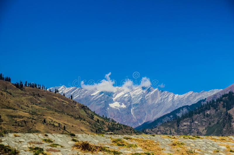 View of himalaya from the road, tourism Himachal leh ladakh manali, India. View of himalayas from the road, tourism Himachal leh ladakh manali, India stock photography