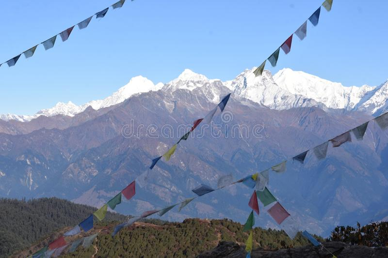 View of the Himalayas mountain range with prayer flags in the Langtang National Park. Nepal royalty free stock images