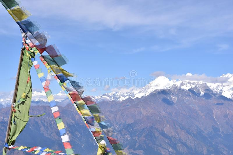 View of the Himalayas mountain range with prayer flags in the Langtang National Park. Nepal stock image