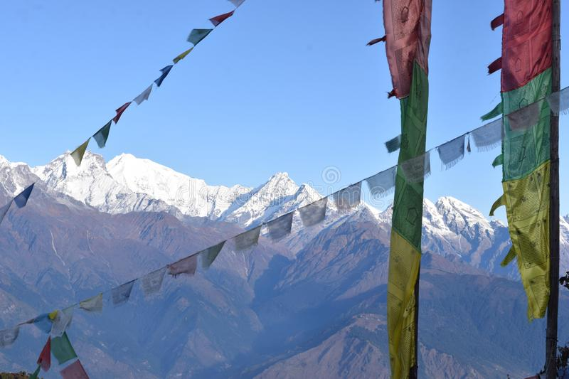 View of the Himalayas mountain range with prayer flags in the Langtang National Park. Nepal royalty free stock photography
