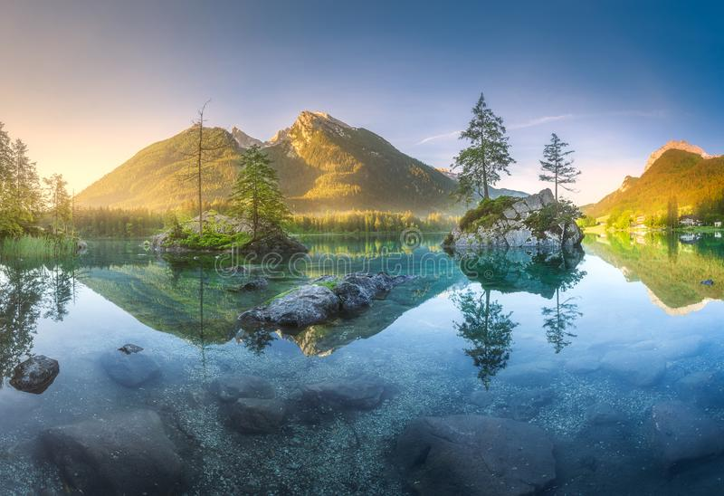 View of Hintersee lake in Bavarian Alps, Germany stock photo