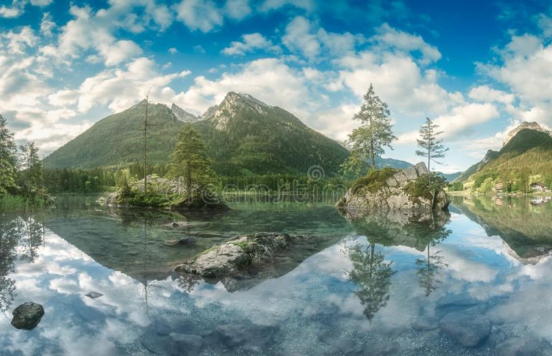View of Hintersee lake in Bavarian Alps, Germany. Mountain landscape and view of beautiful Hintersee lake in Berchtesgaden National Park, Upper Bavarian Alps royalty free stock photography
