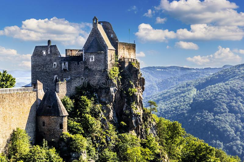 View of historic Aggstein castle ruin on the Danube river. Lower. Austria stock images