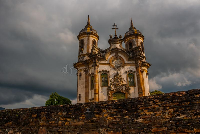 View of historic baroque church Igreja Sao Francisco de Assis, Ouro Preto, Minas Gerais, Brazil. View of historic baroque church Igreja Sao Francisco de Assis royalty free stock image