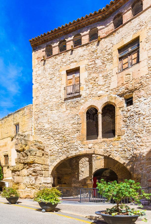 View of a historic building in the city center, Tarragona, Catalunya, Spain. Vertical. Copy space for text royalty free stock image