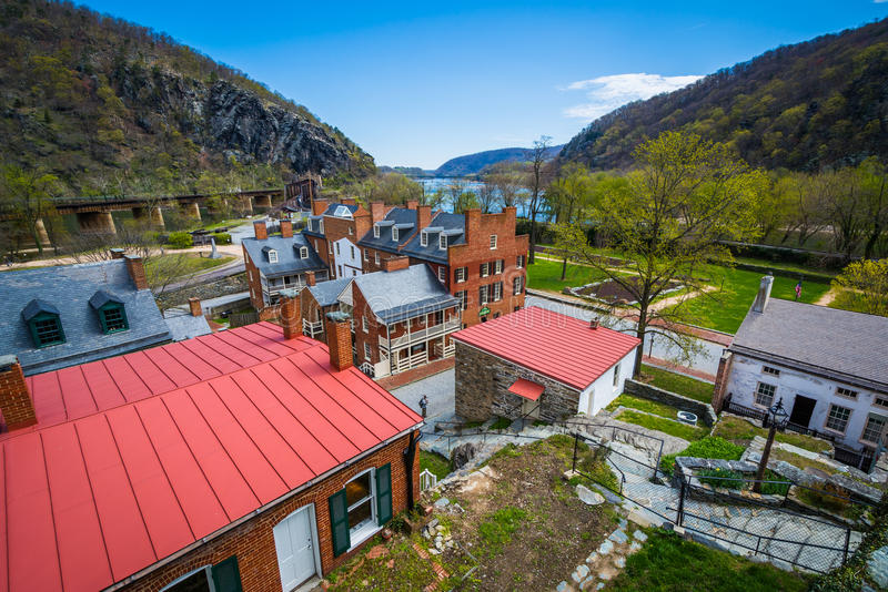 View of historic buildings in Harpers Ferry, West Virginia. stock photos