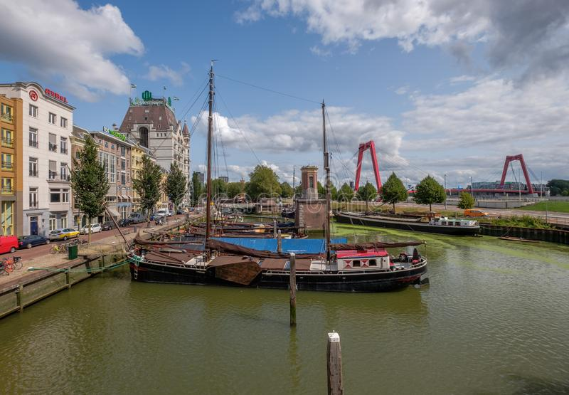 Historical Oude Haven with old ships in city center of Rotterdam stock image