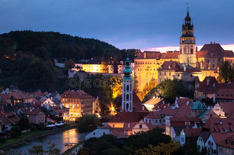 View of the historic center of Cesky Krumlov, Czech Republic royalty free stock images