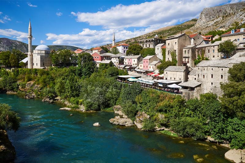 Historic centre of Mostar seen from Stari Most stock images