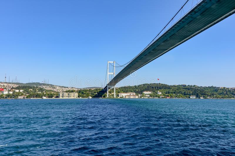 Historic city of Istanbul and its buildings and bridge over the Bosphorus. View of the historic city of Istanbul and its buildings and bridge on the banks of the stock images