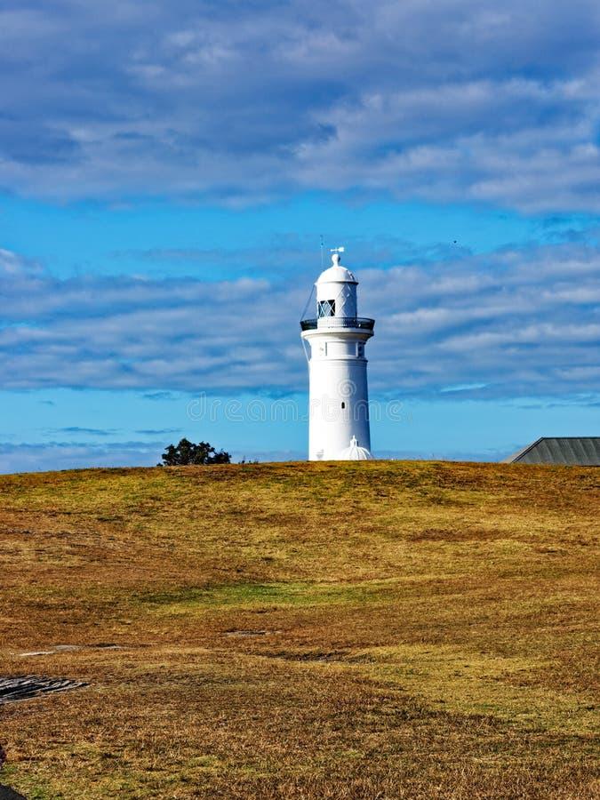 Macquarie Lighthouse, Vaucluse, Sydney, Australia. View of the historic Macquarie Lighthouse from the gently rolling coastal parkland alongside the Pacific Ocean stock photos