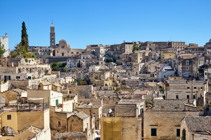 View of the historic old town of Matera stock photos