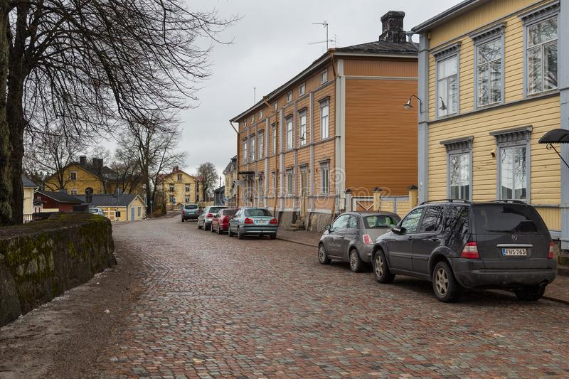 View of the historic Old Town, Vanha Porvoo, Finland. Porvoo, Finland- 04 March 2015: View of the historic Old Town, Vanha Porvoo, with medieval, wooden royalty free stock photography