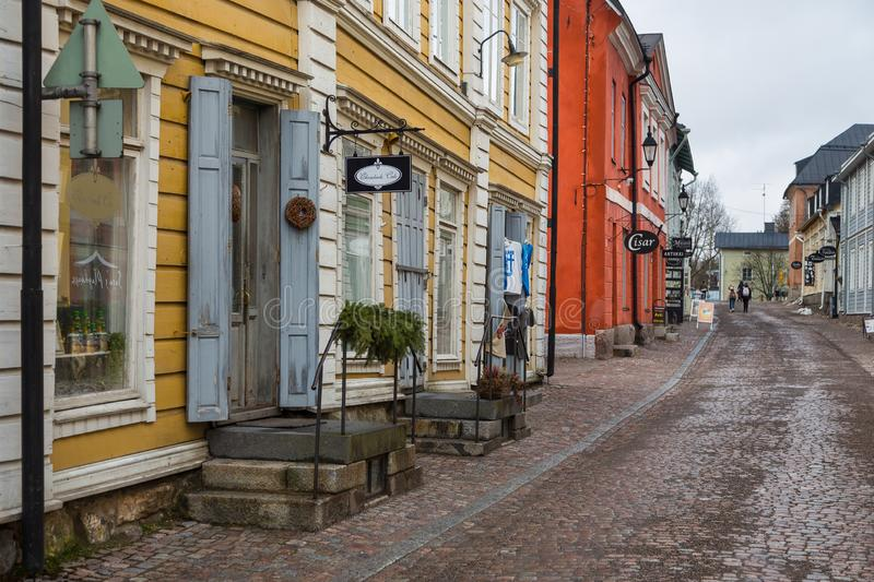 View of the historic Old Town, Vanha Porvoo, Finland. Porvoo, Finland- 04 March 2015: View of the historic Old Town, Vanha Porvoo, with medieval, wooden stock images