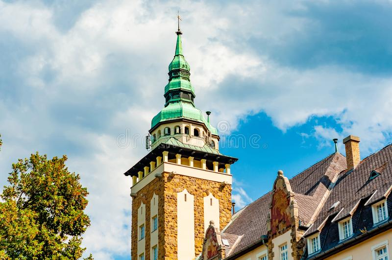 Historic palace on a sunny day in Lillafured, Hungary royalty free stock photo