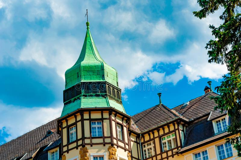 Historic palace on a sunny day in Lillafured, Hungary stock photos