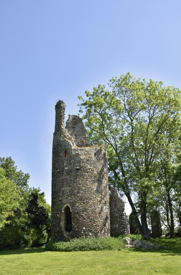 Historic Round Tower Church Ruin of East Anglia. View of the historic round towered church ruin of St. Mary`s, Kirby Bedon, South Norfolk, England royalty free stock photography