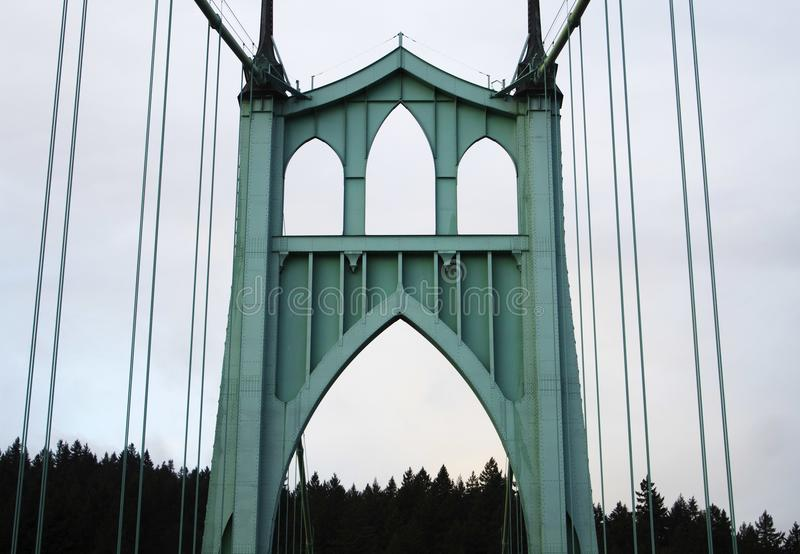 St. Johns Bridge arch. A view of the historic St Johns bridge in Portland, Oregon stock image