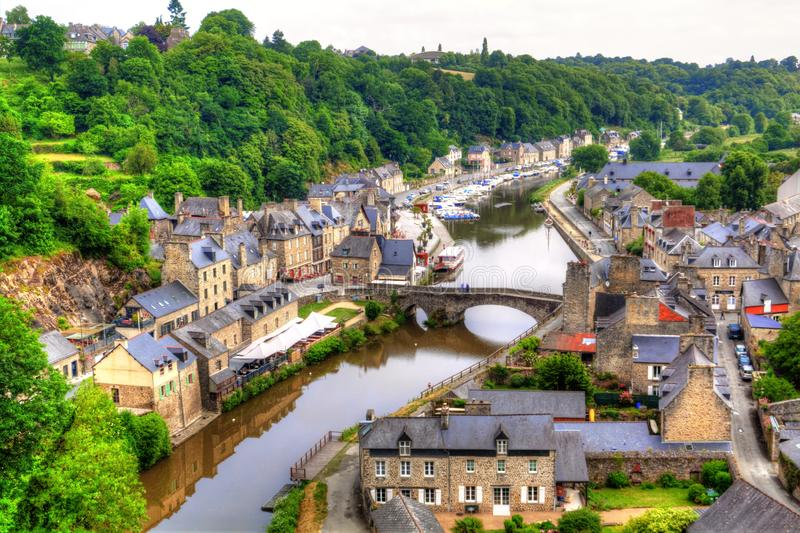 View of the historic town of Dinan royalty free stock images