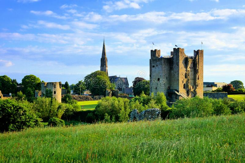 Trim Castle with church, County Meath, Ireland stock image