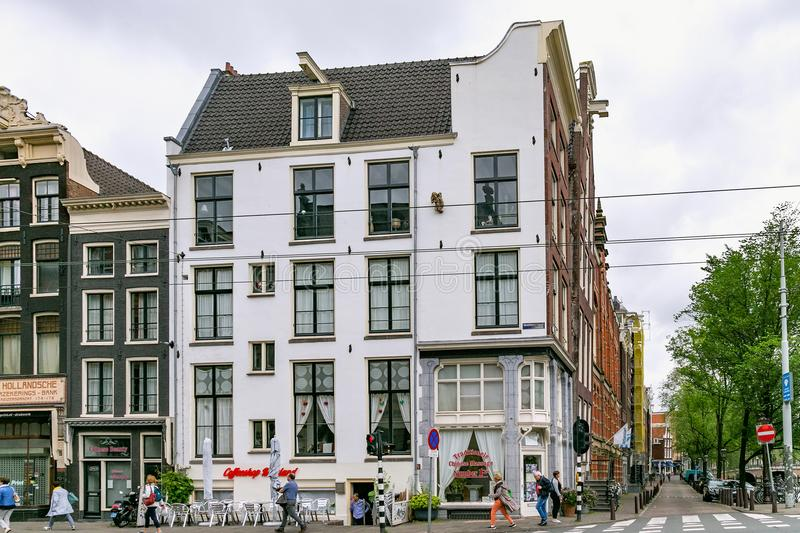 AMSTERDAM, NETHERLANDS - JUNE 25, 2017: View of the historical buildings on the Raadhuisstraat street. View of the historical buildings on the Raadhuisstraat stock photo