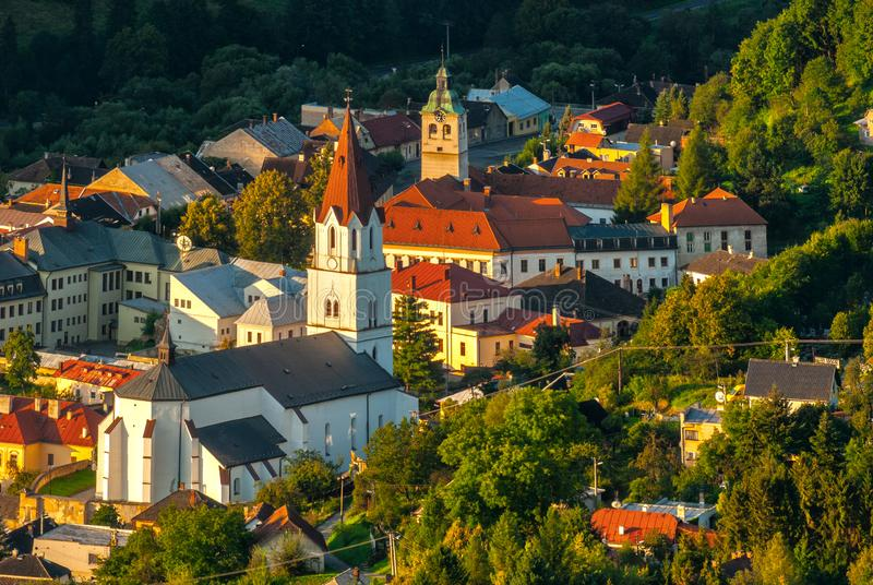 The center of Gelnica town stock photo