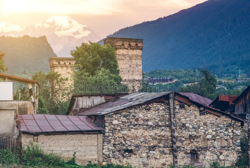 View on historical defensive towers in Mestia royalty free stock photography