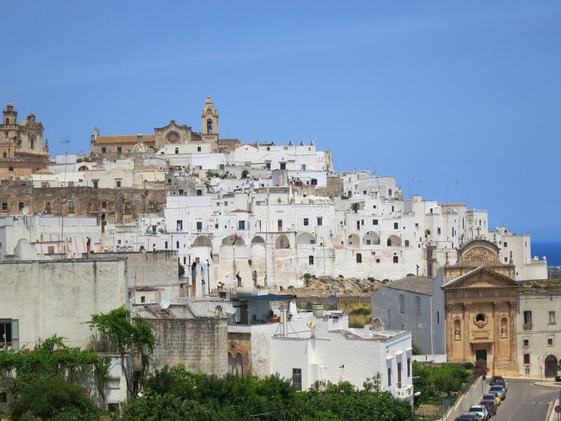 View of the historical town Ostuni in Puglia Italy royalty free stock photography