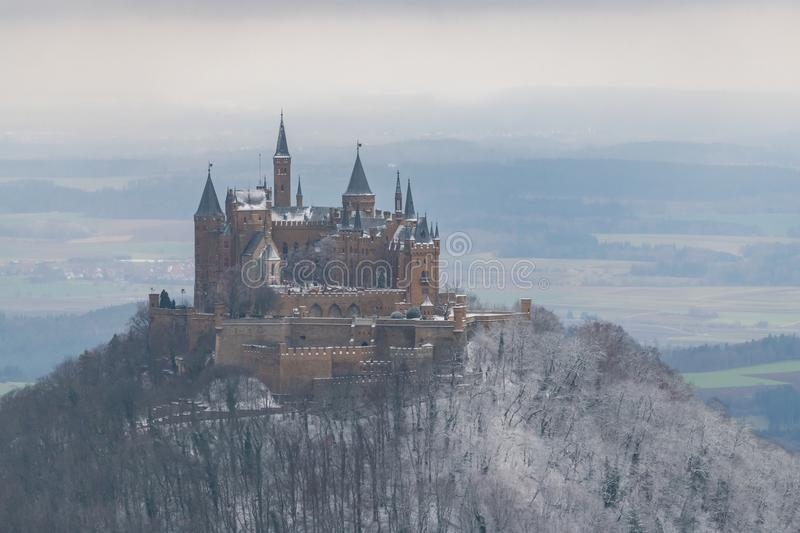 View on Hohenzollern Castle from Zeller Horn in winter times, Ge. View on Hohenzollern Castle from Zeller Horn in winter times in Germany royalty free stock photos