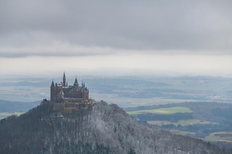 View on Hohenzollern Castle from Zeller Horn in winter times, Ge. View on Hohenzollern Castle from Zeller Horn in winter times in Germany royalty free stock images