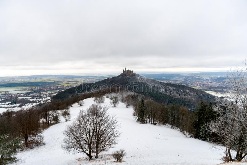 View on Hohenzollern Castle from Zeller Horn in winter times, Ge. View on Hohenzollern Castle from Zeller Horn in winter times in Germany stock photo