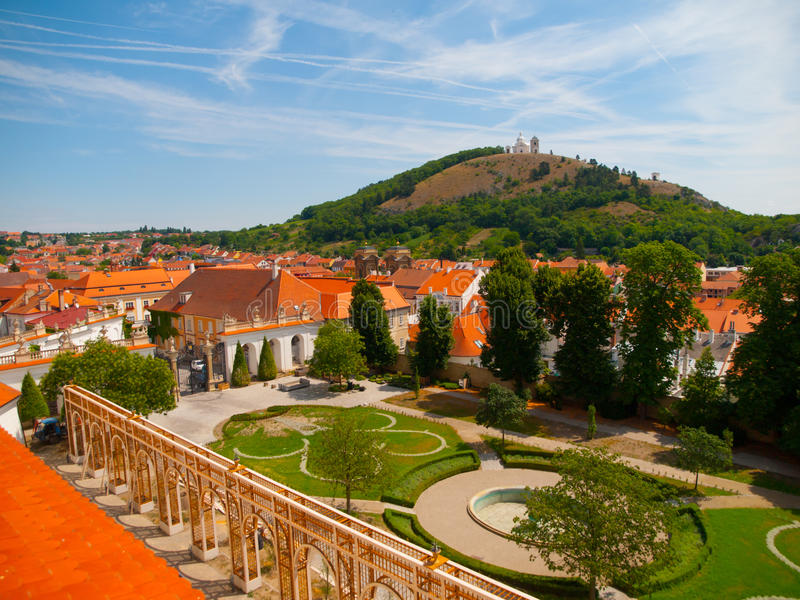 View of Holy Hill from Mikulov Castle royalty free stock photos