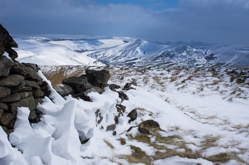 View on Hope Valley. January snow in Hope Valley near Edale royalty free stock photography